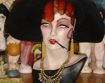 Art Deco Store Metal Hat Stand with French Composition Doll Head and French Deco Caplet REDUCED