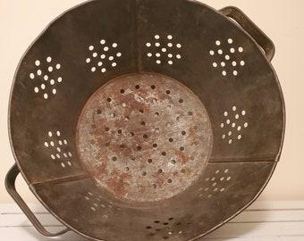 Vintage Round Hole Pattern Footed Strainer with Handles Huge 14 12 Metal Colander