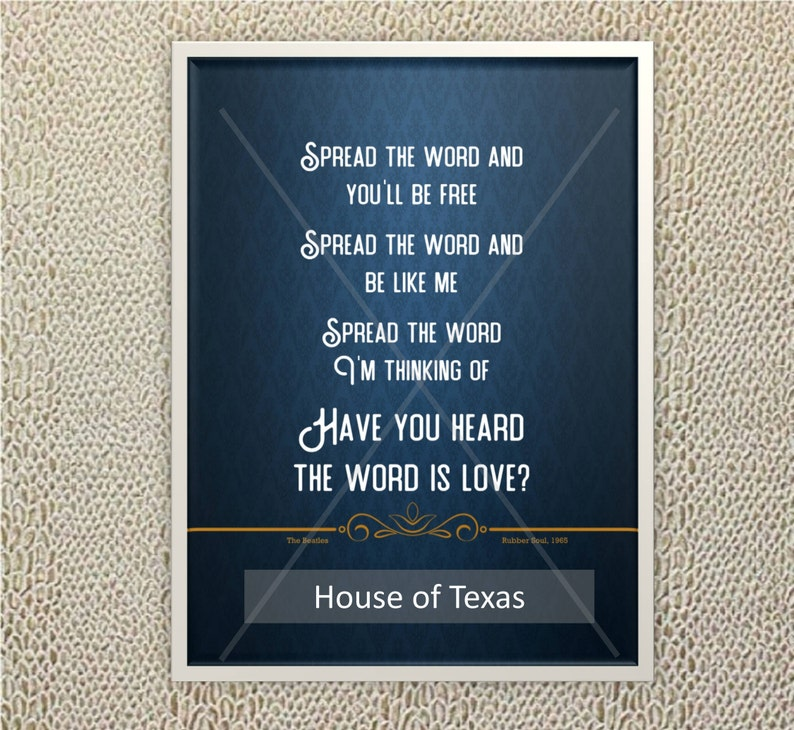 The Word Quote Print The Beatles Beatles Lyrics From Etsy