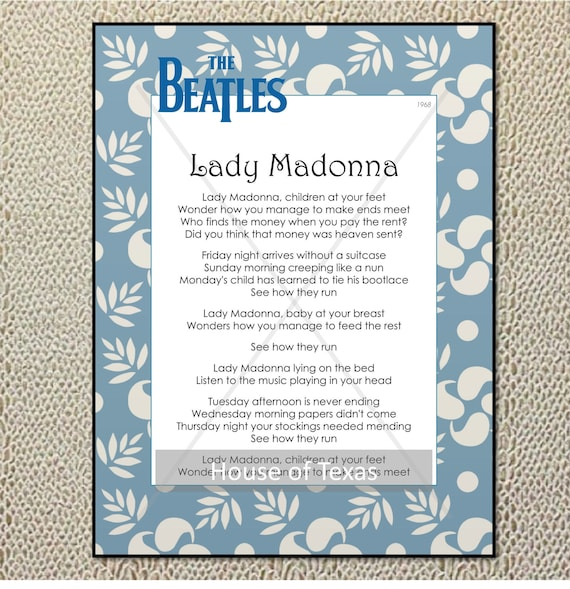 Quotes Lyrics Singles Art The Collection Lady From Beatles Gift Madonna Print Yfgy76b