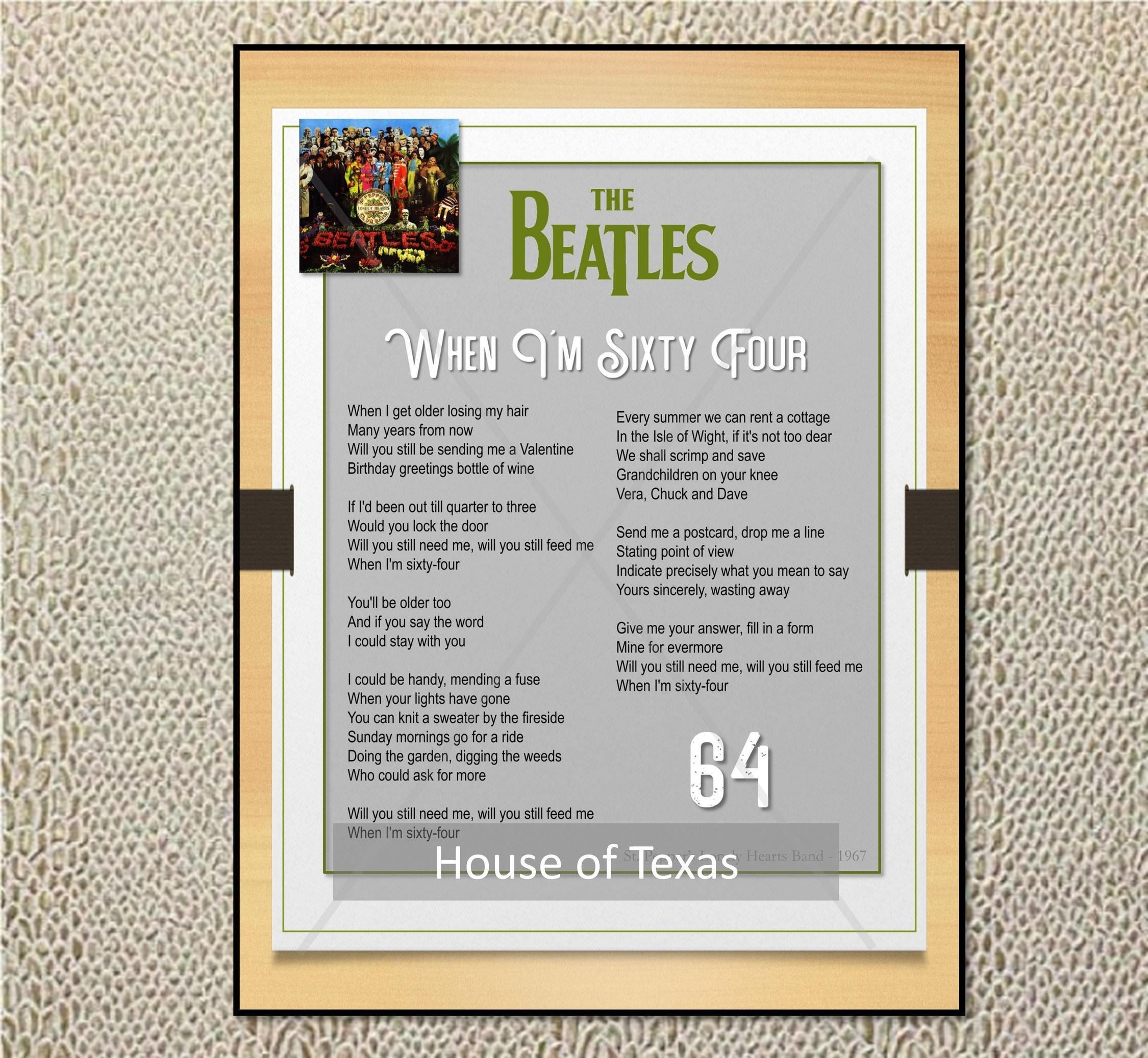 When Im Sixty Four Print The Beatles Beatles Lyrics Etsy