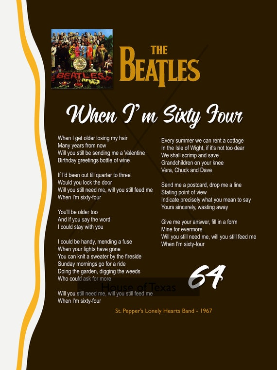 When I M Sixty Four Print The Beatles Beatles Lyrics Etsy