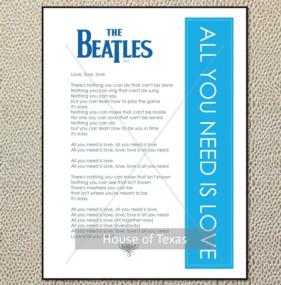 All You Need Is Love Print The Beatles Beatles Lyrics Etsy