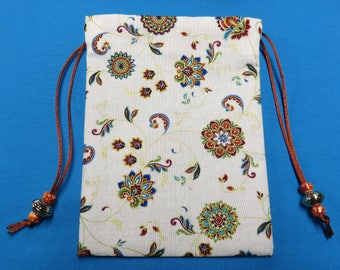 Cream Floral, Lined in Silk, Handmade Tarot Pouch, Tarot Bag 5 x 7