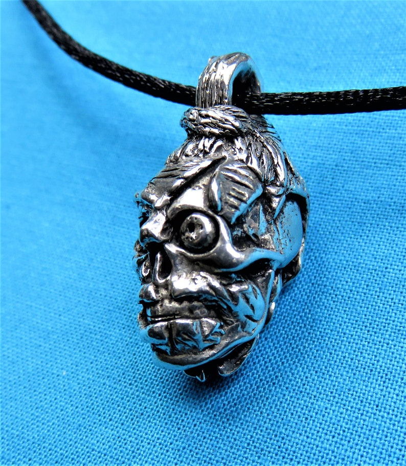Zombie Head Pendant Left Ear Solid Cast Hand Cast In Silver image 0