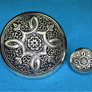 Thistle Button Hand Cast In Silver Pewter STK283 1 38