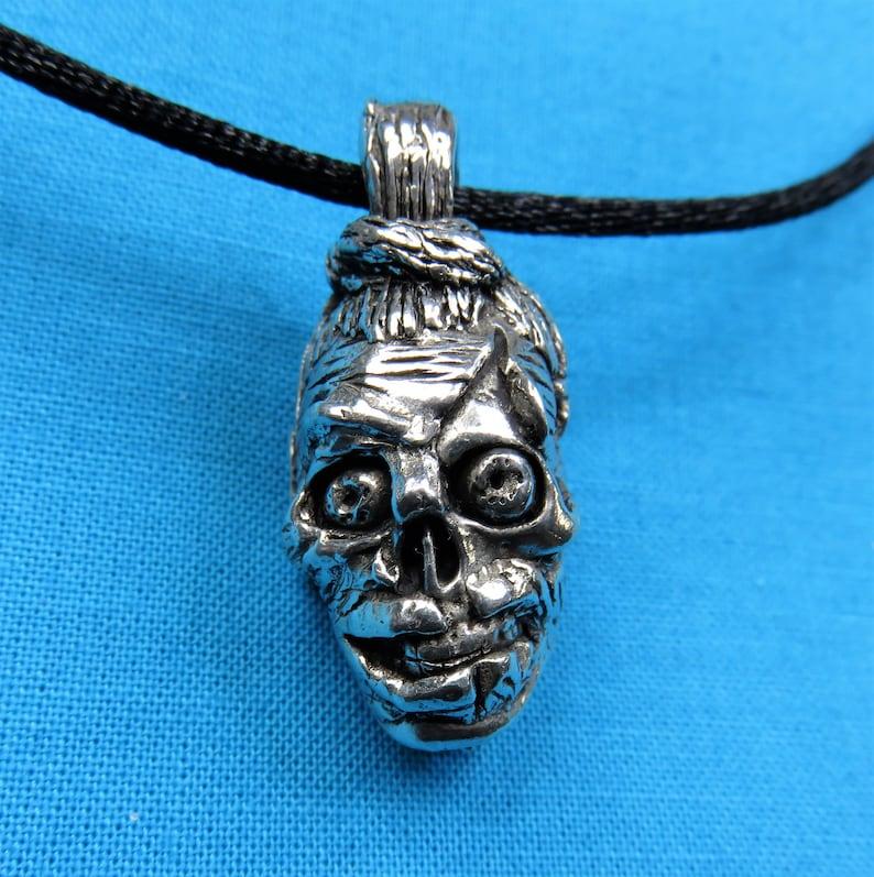 Zombie Head Pendant Necklace Jewelry image 1