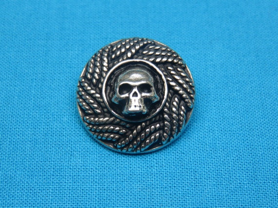 Pirate Costume Buttons Set of TWO Crafted in Fine Pewter Pirate Skull Buttons