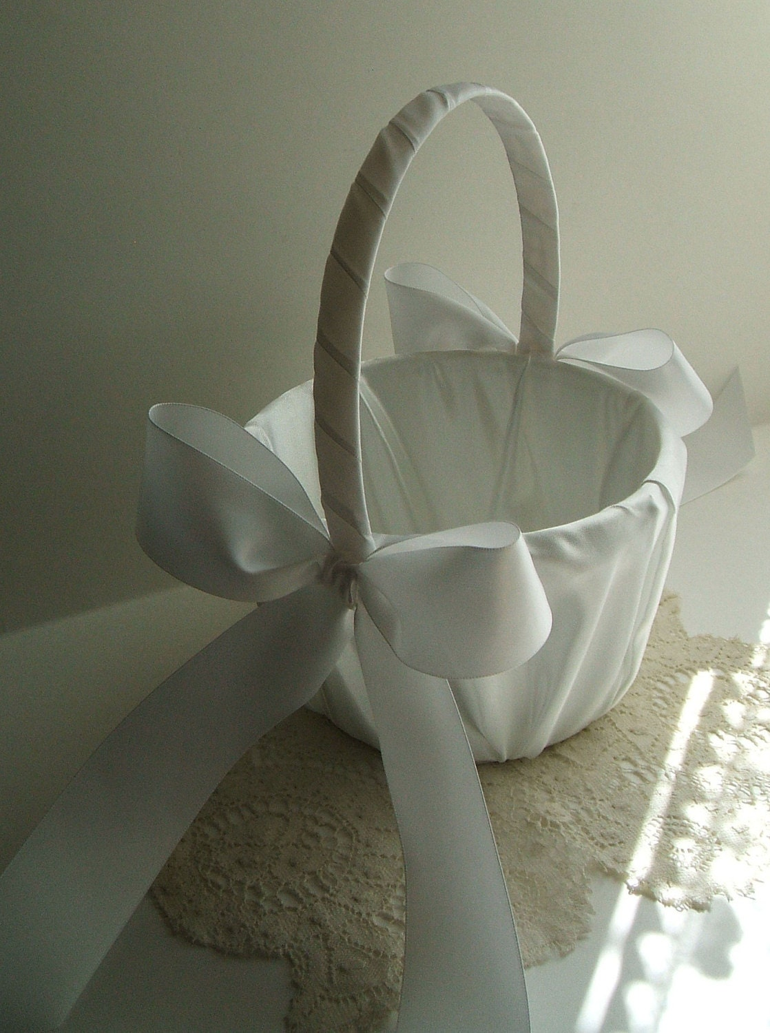 Flower Girl Basket Flowergirl Basket Handmade Wedding Etsy