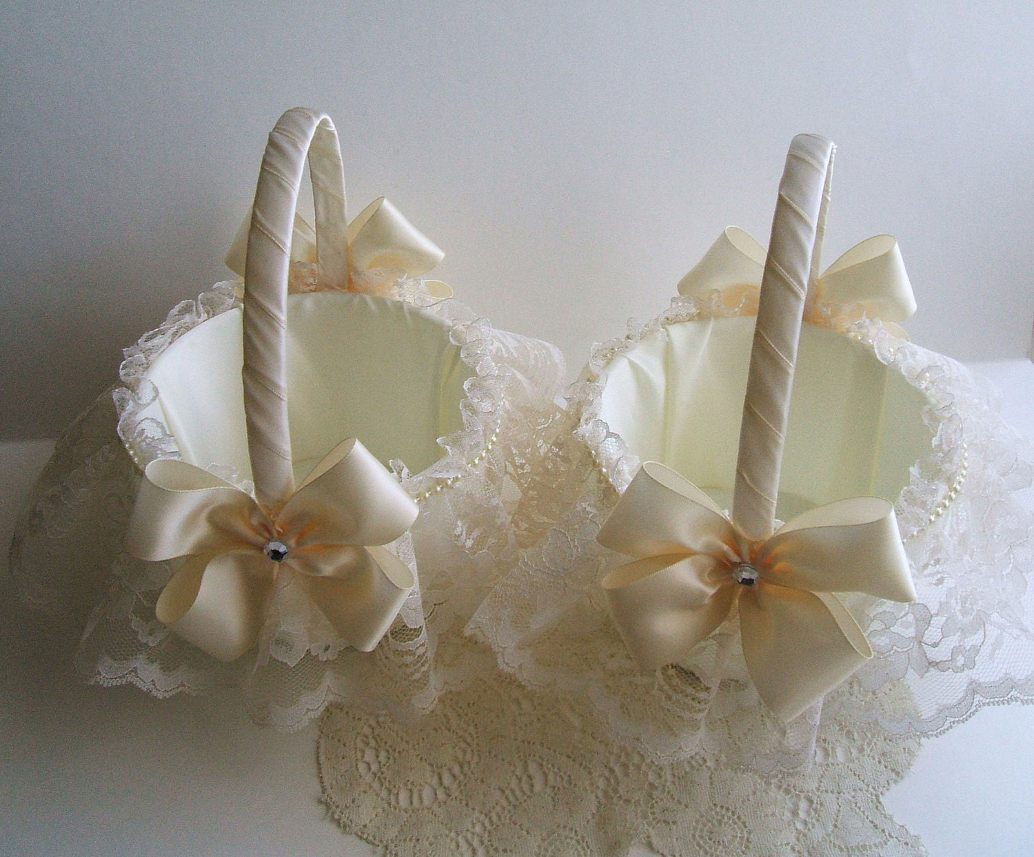 Pair Of Wedding Flowergirl Baskets Handmade Nuance With Lace Etsy