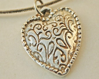 Silver Embossed Heart Pendant
