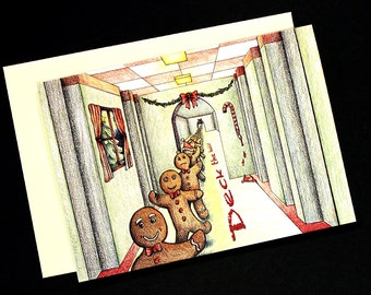 Gingerbread Deck the Halls Christmas Card
