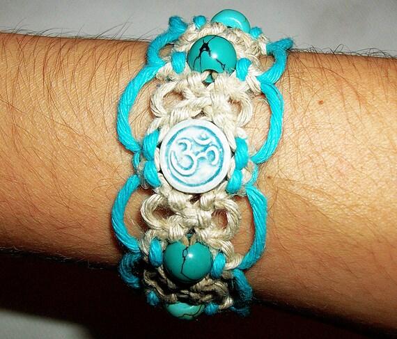 Raku Aum Om Ohm Hemp Bracelet with Turquoise Gemstone Beads - Ceramic Bead on Natural Hemp Jewelry - Om Ohm Micro Macrame - Hemp Bracelet by 1HandmadeHempJewelry