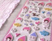 Sticker of cute pinki girl and her home town puffy stickers (Kawaii collection)