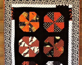 """Modern Halloween Quilt, OOAK Reversible Halloween Wall Hanging or Lap Quilt, 35"""" X 47"""" Scrappy Orange and Black Cotton Crib Quilt"""