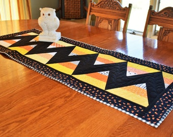 Halloween Table Runner, OOAK Candy Corn Table Runner, Fall Halloween Decor Quilted Cotton Table Topper
