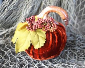 Stuffed Velvet Pumpkin, Autumn or Fall Decor, Elegant Rust Fabric Pumpkin, Halloween, Thanksgiving Decoration