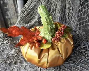 Stuffed Satin Pumpkin, Autumn or Fall Decor, Elegant Gold Fabric Pumpkin, Halloween, Thanksgiving Decoration