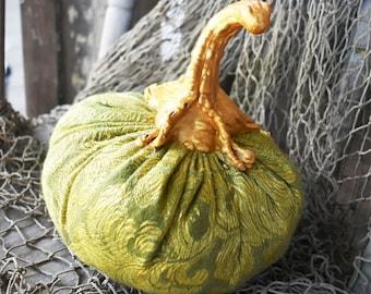 Stuffed Fabric Pumpkin, Autumn or Fall Decor, Elegant Green Gold Pumpkin, Halloween, Thanksgiving Decoration