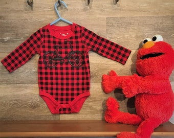 Red and Black checked bike print onesie