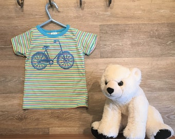 Multi colored striped bike print shirt