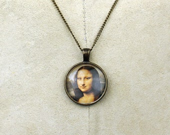 Custom Mona Lisa necklace pendant tattoo museum Leonardo art necklace punk boho chic
