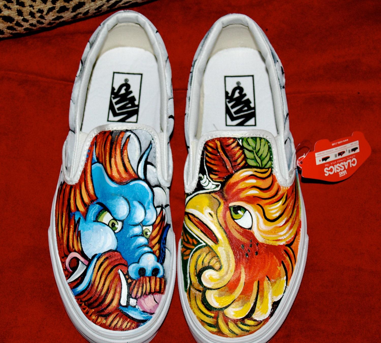 05e8c2f811d Custom women s or men s Slip on Vans sneakers hand