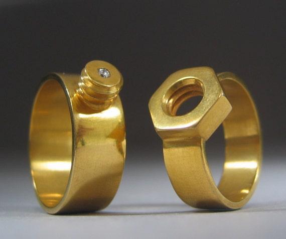 Nut And Bolt Wedding Bands Etsy