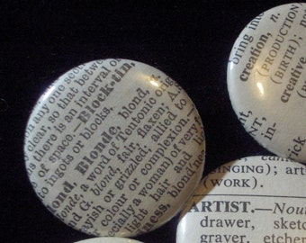 Bulk Buy - 10 Vintage Dictionary Custom Buttons - You Pick the Words
