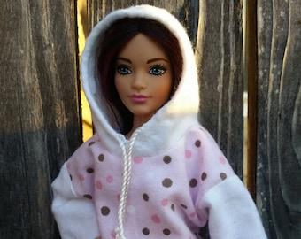 Barbie Hoodie White Polka Dot Pink Background Barbie Clothes Curvy Barbie