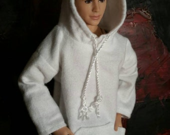 Ken Hoodie White Flannel Made to Order Ken Clothes Barbie Clothes Fashionista