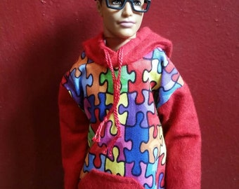 Ken Hoodie Red Jig Saw Print Made to Order Fashionista Ken Clothes Barbie Clothes Tall Barbie