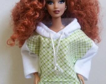 Barbie Hoodie Apple Green checks and White Barbie Clothes Fashionista Curvy Barbie Petite Barbie Tall Barbie Ready to Ship