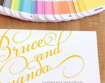 Wedding invitation and rsvp card set, printable, script font, DIGITAL FILE
