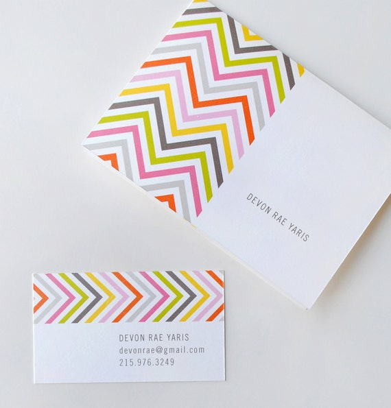 Chevron business cards calling cards personalized etsy colourmoves