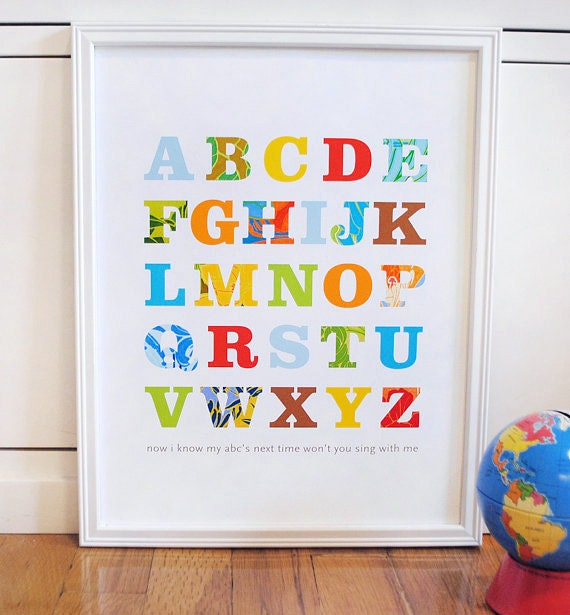 Alphabet Print Primary Colors Modern Wall Art Nursery