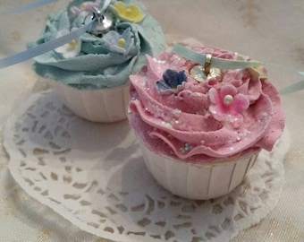Fake cake Pink,christmas,1 Faux cupcake ornament,Light blue cupcakes,pastries,shabby sweet shoppe,shabby cottage chic,custom color,santa orn