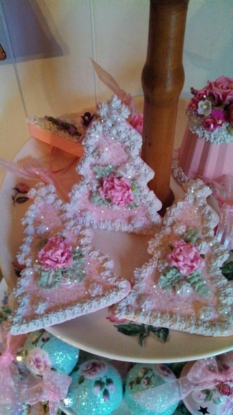 Fake Cake Cookie Cottage Shabby Chic Christmas Tree Ornament Pink Roses Christmas Hand Painted Jennifer S Petal Palace 3 Faux Cookies