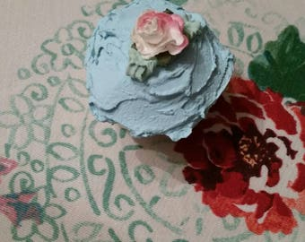 Fake cake,aqua, Pink rose,1 Faux cupcake, display cupcake, pastries, shabby sweet shoppe, shabby cottage chic, roses, cute retro kitchen,