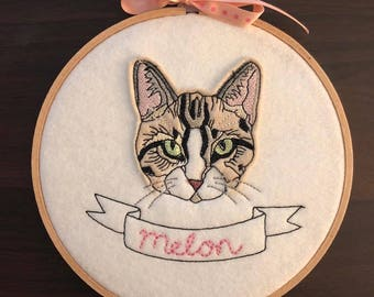 Custom Cat Embroidery, Custom Pet Embroidery, Custom Stitched Cat Portrait, Custom Stitched Pet Portrait, Pet Memorial Gift
