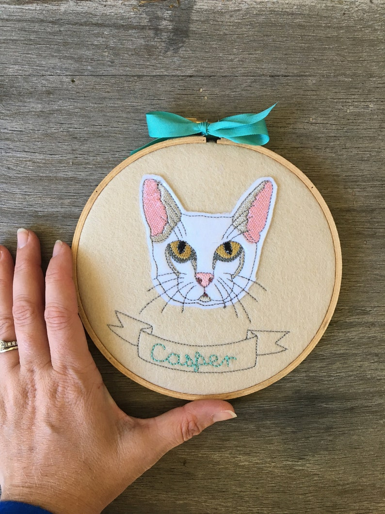 Custom Stitched Cat Portrait Custom Pet Embroidery Custom Stitched Pet Portrait Pet Memorial Gift Custom Cat Embroidery