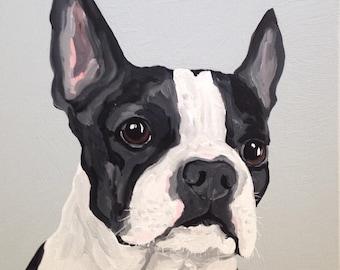 Custom Dog Portrait, 8 x 8 Custom Dog Portrait, Custom Pet Portrait, Custom Dog Painting