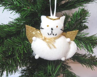 angel cat ornament white felt angel decoration white and gold cute christmas cat christmas decorations cat lover gift hanging decor