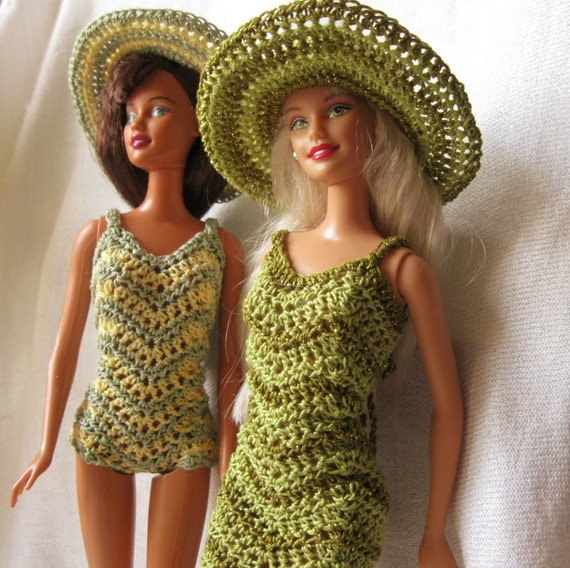 Barbie Doll crochet pattern Chevron dress and swimsuit with wide brimmed hat   3668c988a32