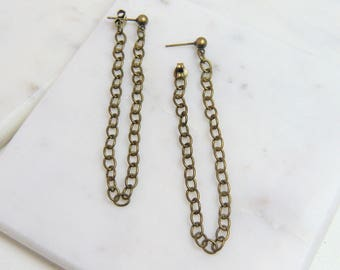 Everyday Chain Loop Earrings - Antiqued Brass Cable Chain