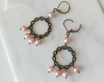 Pink Freshwater Pearl And Antiqued Brass Twisting Hoop Earrings