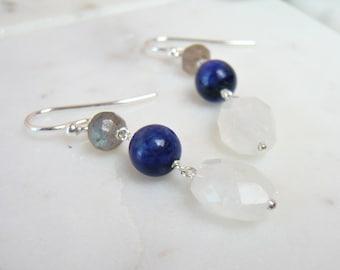 Moonstone, Lapis Lazuli And Labradorite Stone Earrings