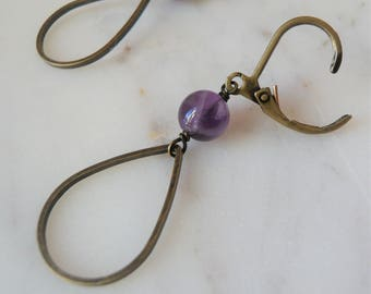 Amethyst And Antiqued Brass Teardrop Hoop Earrings - Small