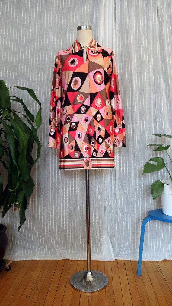 vintage dress, pattern dress, 1960s dress, art pri