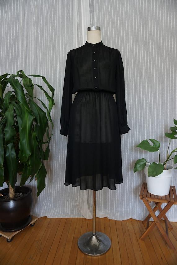 vintage dress 70s Lanvin black sheer dress vintage